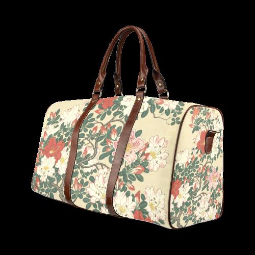 Azalea flowers, Japanese woodcut print, Waterproof Travel Bag/Large (Model 1639)