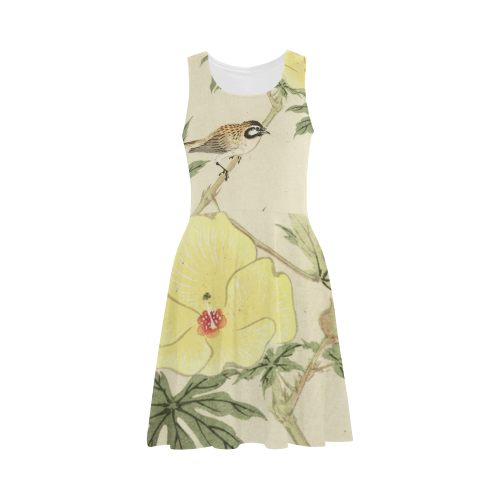 Bird with yellow flowers, oriental Woodcut Print Atalanta Sundress (Model D04)