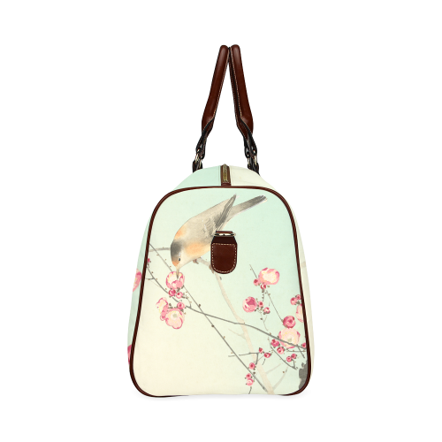 Oriental Bird pink blossom, Japanese woodcut print Waterproof Travel Bag/Large (Model 1639)