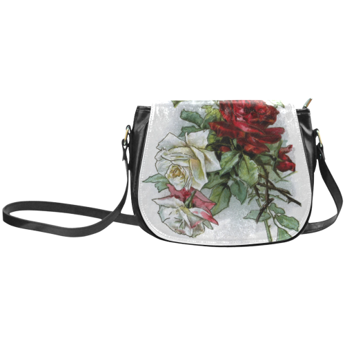 Vintage Roses Red White Floral Classic Saddle Bag/Large (Model 1648)