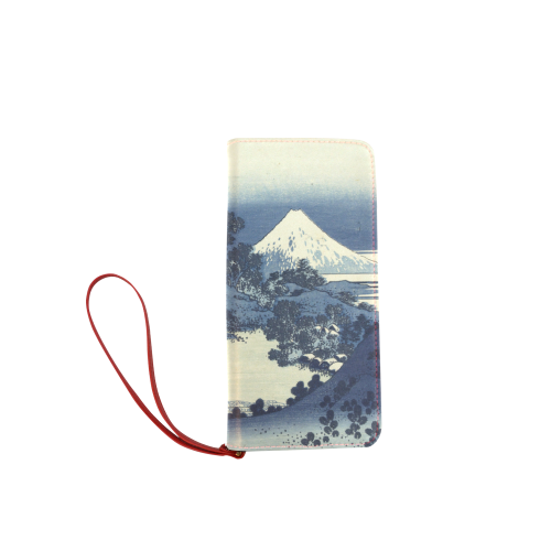Blue Japanese woodcut scenery Women's Clutch Wallet (Model 1637)