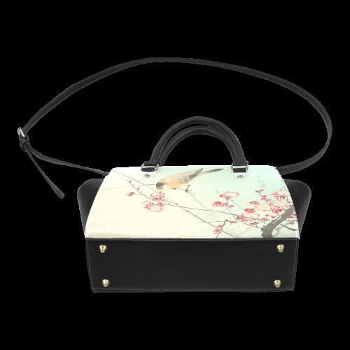Oriental Bird pink blossom, Japanese woodcut print Classic Shoulder Handbag (Model 1653)