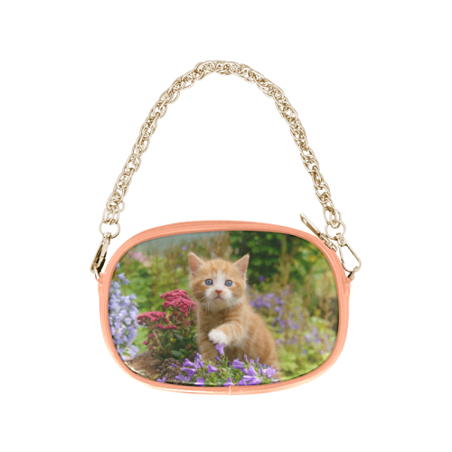 Cute Ginger Kitten Funny Baby Pet Animal in a Garden Photo for Cat Lovers Chain Purse (Model 1626)