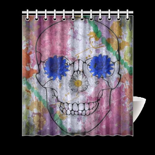 Flower Power Skull Shower Curtain 66x72