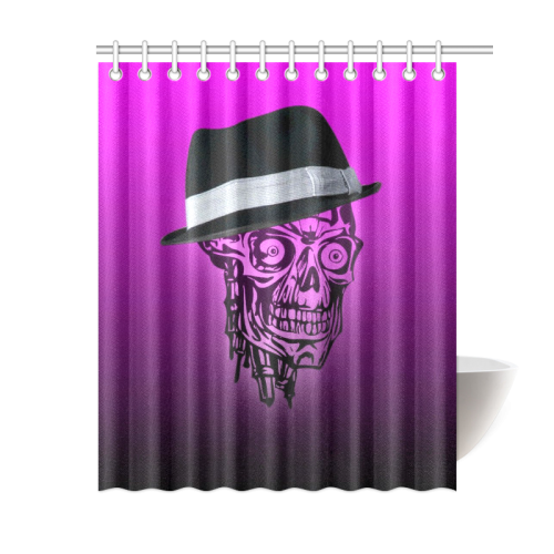 """elegant skull with hat,hot pink Shower Curtain 60""""x72"""""""