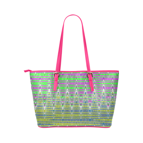 Colorful Waves Leather Tote Bag/Large (Model 1651)