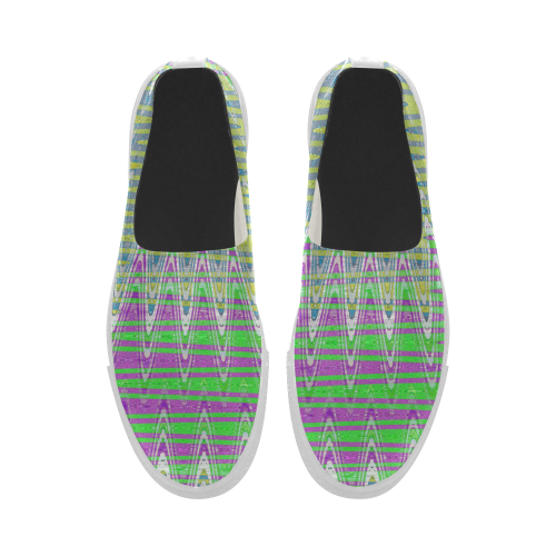 Colorful Waves Apus Slip-on Microfiber Women's Shoes (Model 021)