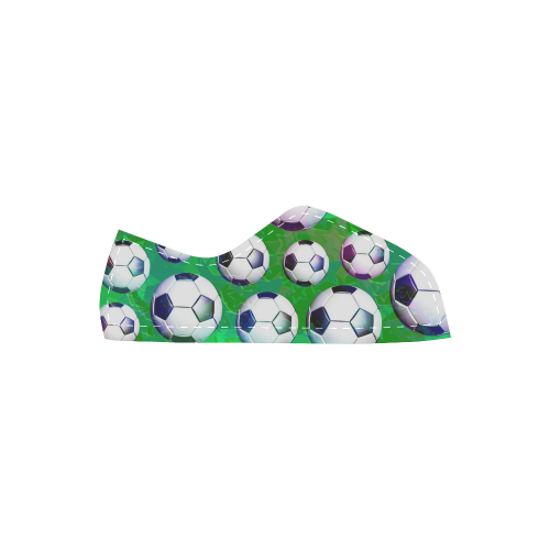 Soccer Ball Football Pattern Velcro Canvas Kid's Shoes (Model 008)