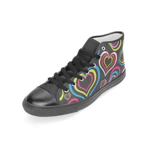 Hearts on Black Women's Classic High Top Canvas Shoes (Model 017)