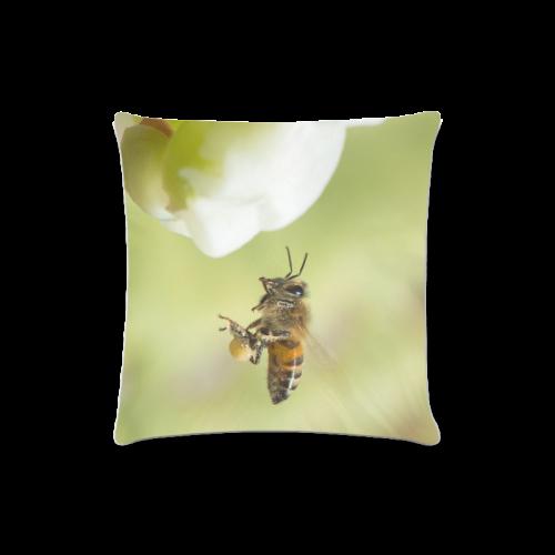 "Macro of Bee in Flight Custom Zippered Pillow Case 16""x16""(Twin Sides)"
