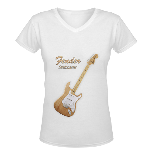 American Fender Stratocaster Women's Deep V-neck T-shirt (Model T19)