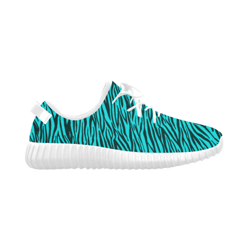 Turquoise Zebra Stripes Grus Women's Breathable Woven Running Shoes (Model 022)