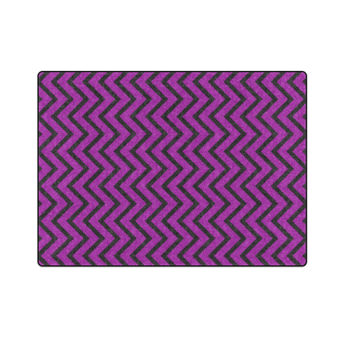 "Black and Purple Chevron Blanket 58""x80"""