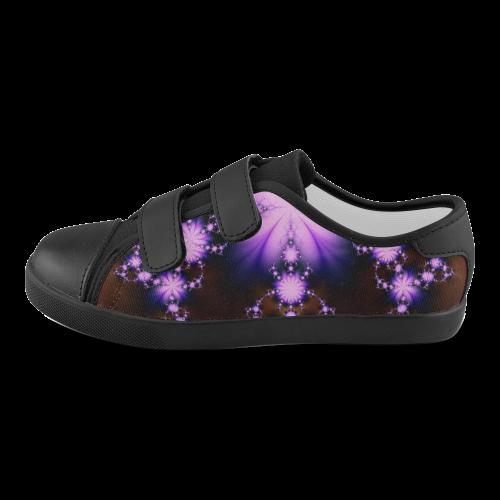 Floral Fractal Sparks Lavender Velcro Canvas Kid's Shoes (Model 008)