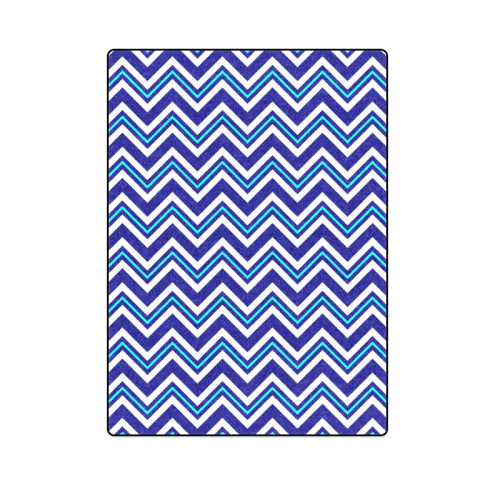 "Aqua White and Navy Chevron Blanket 58""x80"""