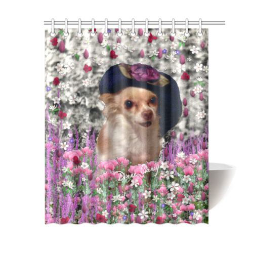 Chi In Pink White Flowers Chihuahua Puppy Dog Shower Curtain 60x72