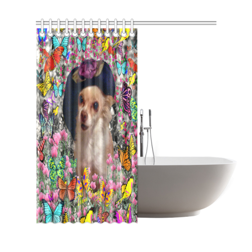 """Chi Chi in Yellow Butterflies, Chihuahua Puppy Dog Shower Curtain 69""""x72"""""""