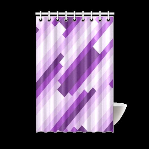Shades Of Purple Diagonal Stripes Shower Curtain 48x72