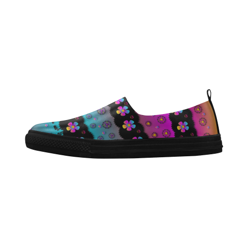 Rainbow  big flowers in peace for love and freedom Apus Slip-on Microfiber Women's Shoes (Model 021)