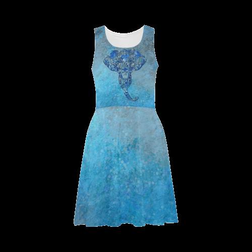 38b5aacc377 A blue watercolor elephant portrait in denim look Atalanta Sundress (Model  D04)