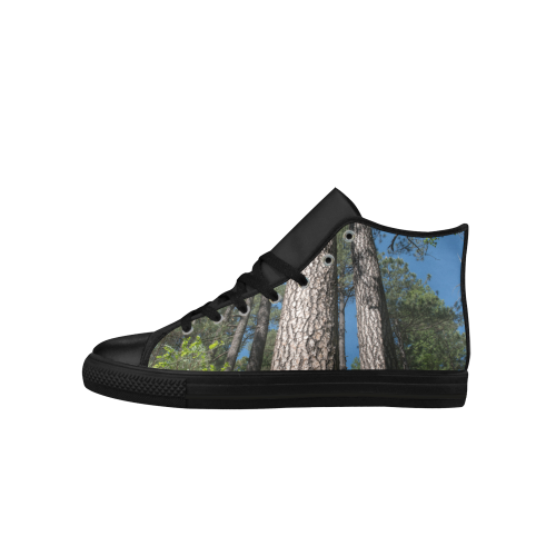 Tall Pine Trees Mt Lemmon Arizona Aquila High Top Microfiber Leather Women's Shoes (Model 027)