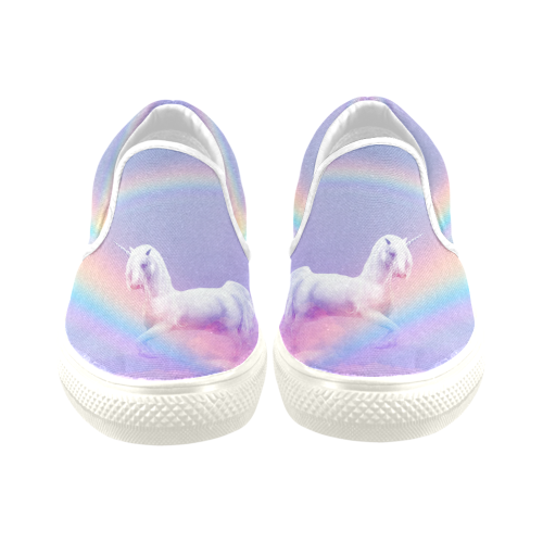Unicorn and Rainbow Women's Unusual Slip-on Canvas Shoes (Model 019)