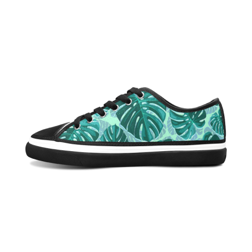 Tropical Leaf Monstera Plant Pattern Women's Canvas Zipper Shoes (Model 001)