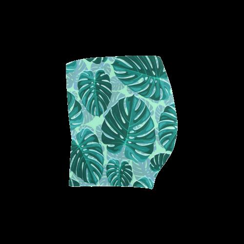 Tropical Leaf Monstera Plant Pattern Briseis Skinny Shorts (Model L04)