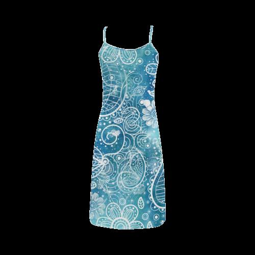 Blue Floral Doodle Dreams Alcestis Slip Dress (Model D05)