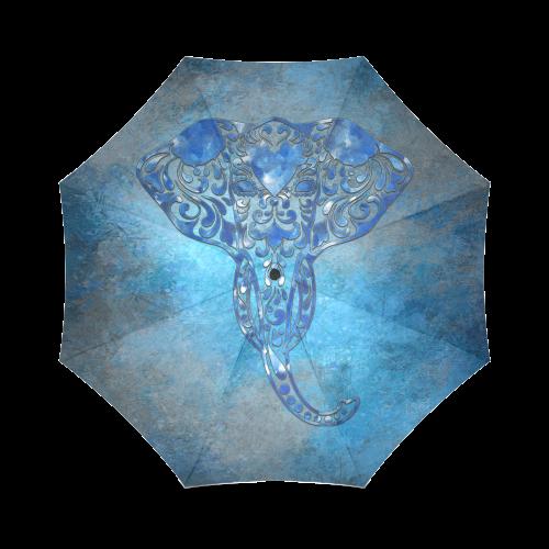 A blue watercolor elephant portrait in denim look Foldable Umbrella (Model U01)