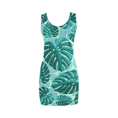 Tropical Leaf Monstera Plant Pattern Medea Vest Dress (Model D06)