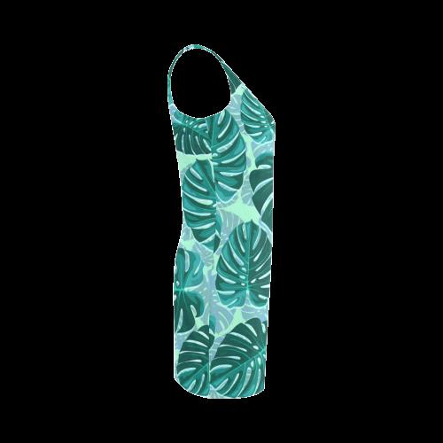 Tropical Leaf Monstera Plant Pattern Medea Vest Dress (Model D06)