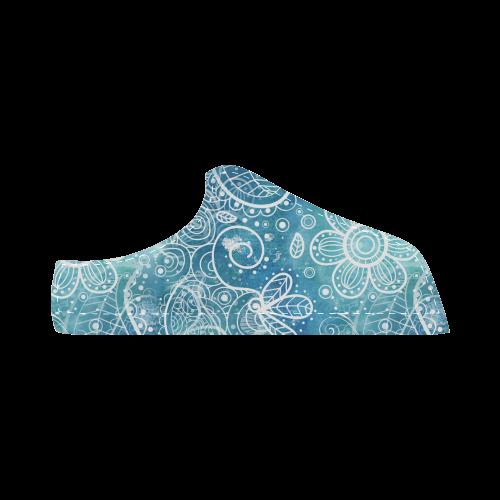 Blue Floral Doodle Dreams Women's Chukka Canvas Shoes (Model 003)