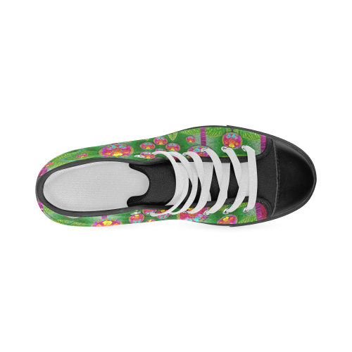 Orchid Forest Filled of big flowers and chevron Men's Classic High Top Canvas Shoes (Model 017)