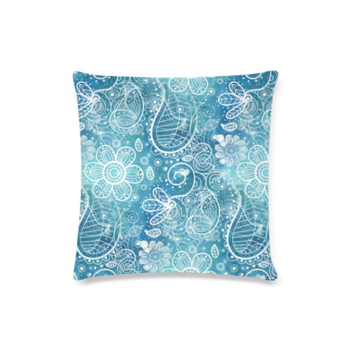 "Blue Floral Doodle Dreams Custom Zippered Pillow Case 16""x16""(Twin Sides)"