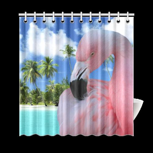 "Flamingo and Beach Shower Curtain 69""x72"""