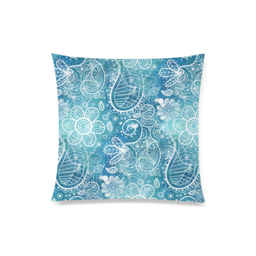 "Blue Floral Doodle Dreams Custom Zippered Pillow Case 20""x20""(Twin Sides)"