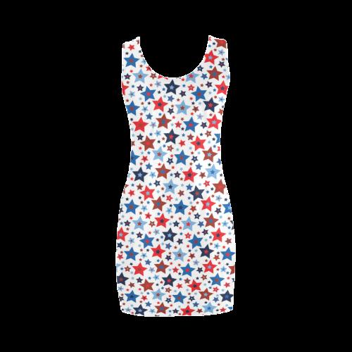 stars red blue white Medea Vest Dress (Model D06)