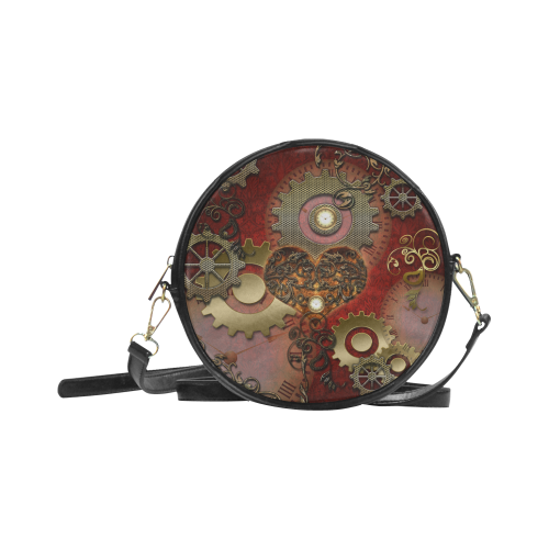 Steampunk, awesome glowing hearts Round Sling Bag (Model 1647)