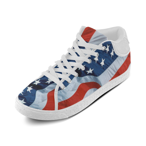 Waving American Flag Men's Chukka Canvas Shoes (Model 003)