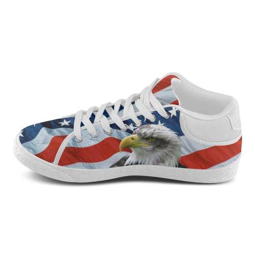 Bald Eagle and American Flag Men's Chukka Canvas Shoes (Model 003)