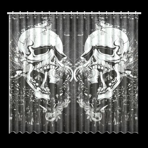 "Dark Gothic Skull Window Curtain 52""x96""(Two Piece)"