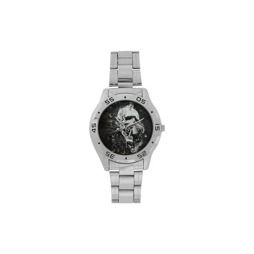 Dark Gothic Skull Men's Stainless Steel Analog Watch(Model 108)