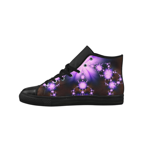 Lavender Floral Fractal Aquila High Top Action Leather Women's Shoes (Model 027)
