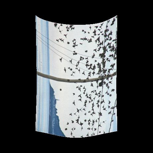 """Birds in Flight Cotton Linen Wall Tapestry 90""""x 60"""""""