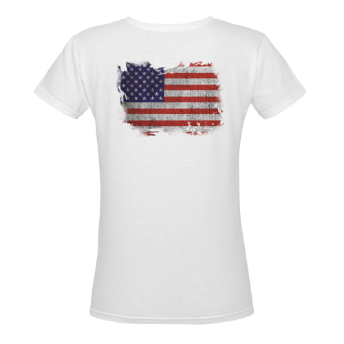 love american Women's Deep V-neck T-shirt (Model T19)