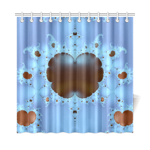 "Fractal Hearts and Clouds Shower Curtain 72""x72"""