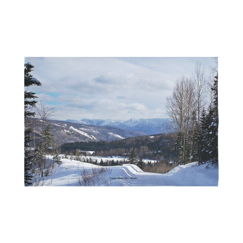 """Mountain Winter Road Cotton Linen Wall Tapestry 90""""x 60"""""""