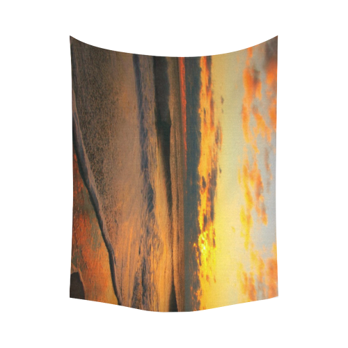 "Stunning sunset on the beach Cotton Linen Wall Tapestry 80""x 60"""