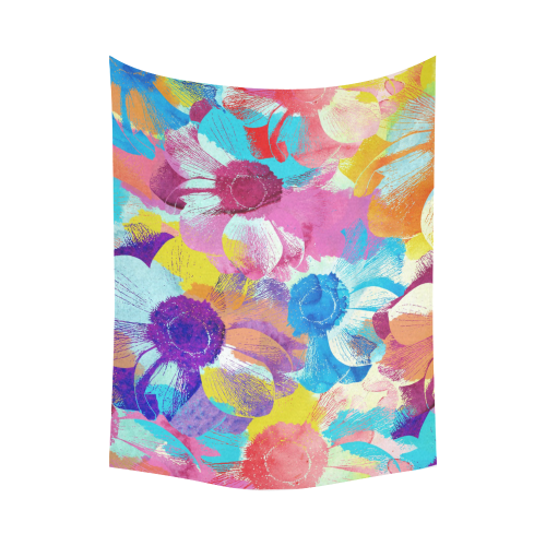 "Anemones Flower Cotton Linen Wall Tapestry 80""x 60"""